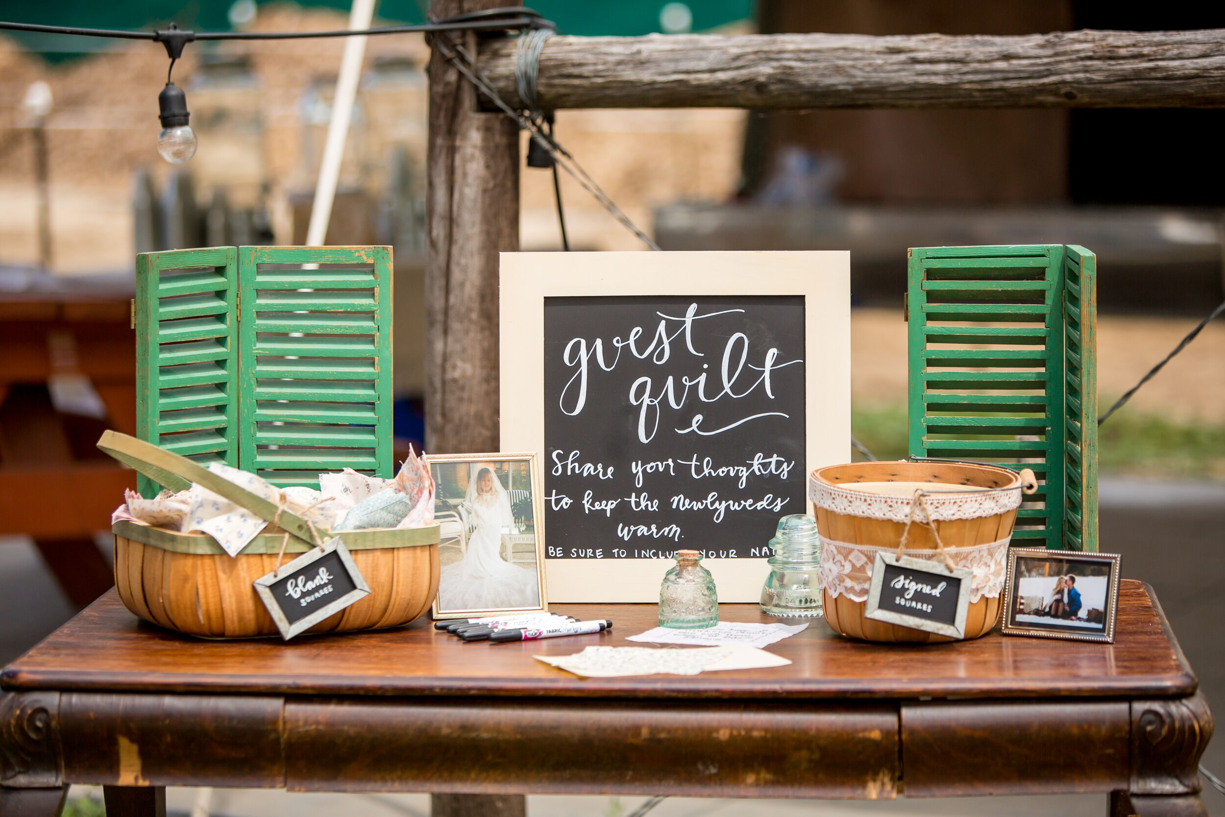 Rustic Quilt Square Wedding Guest Book