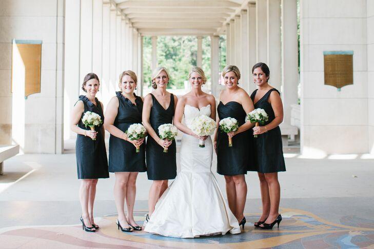 Personalized J Crew Black Knee-Length Bridesmaid Dresses