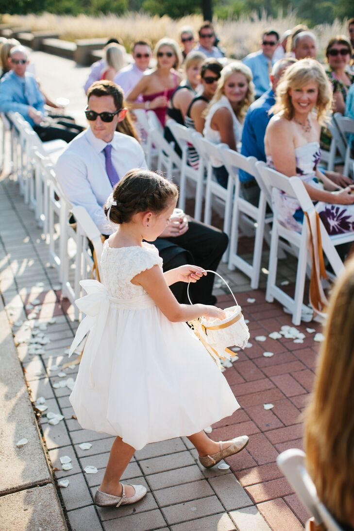 Classic White Flower Girl Dress And Gold Shoes