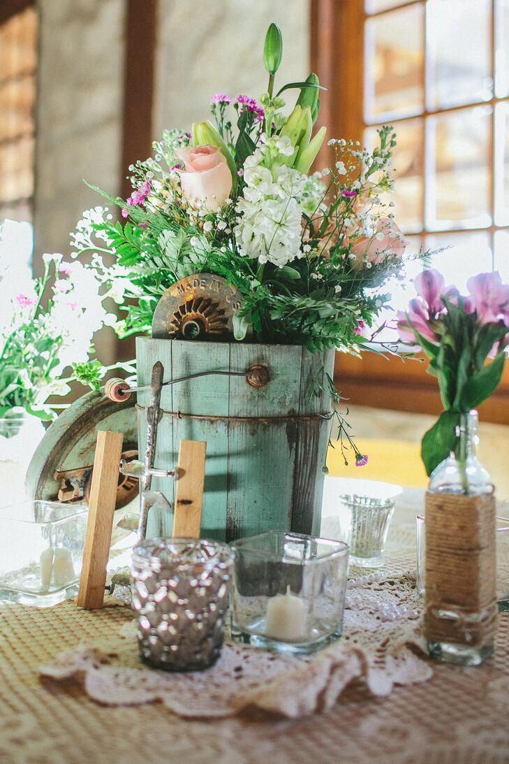 Vintage Bucket And Vase Centerpieces With Lace And Pearls
