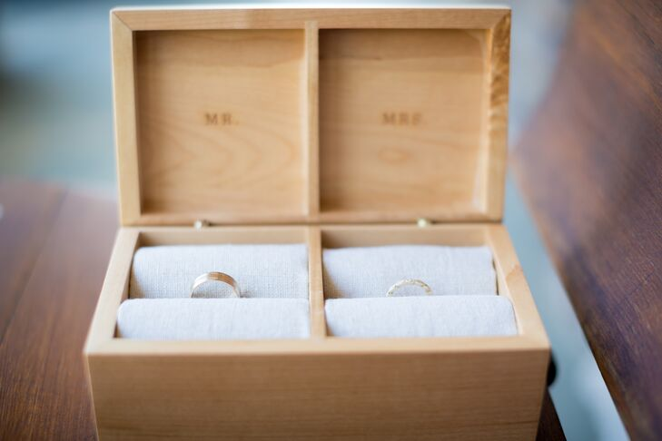 Wooden Double Ring Box with Gold Wedding Rings