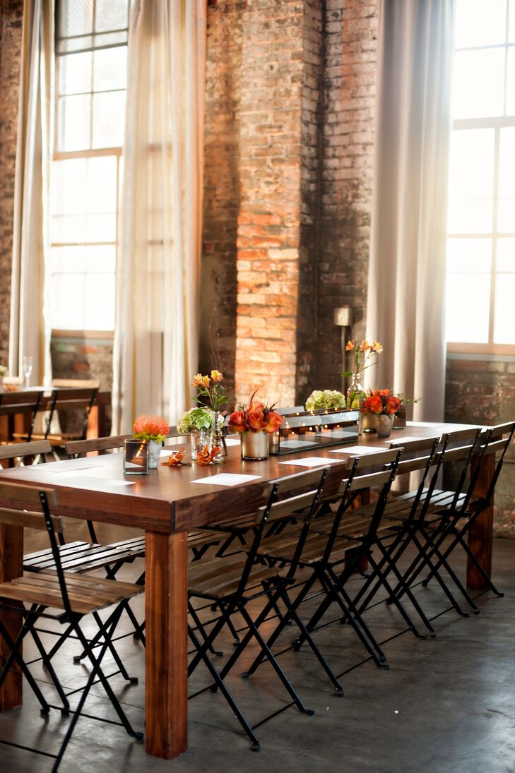 Rustic reception dining table with centerpieces
