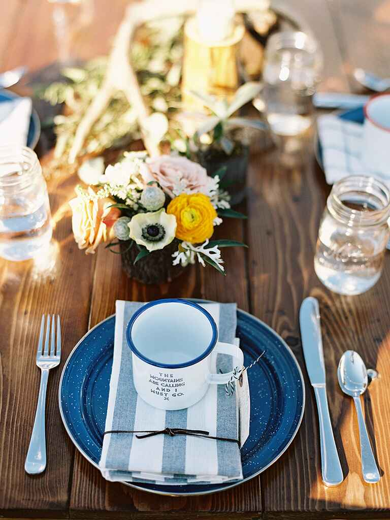 Outdoor centerpiece for a rustic camp wedding