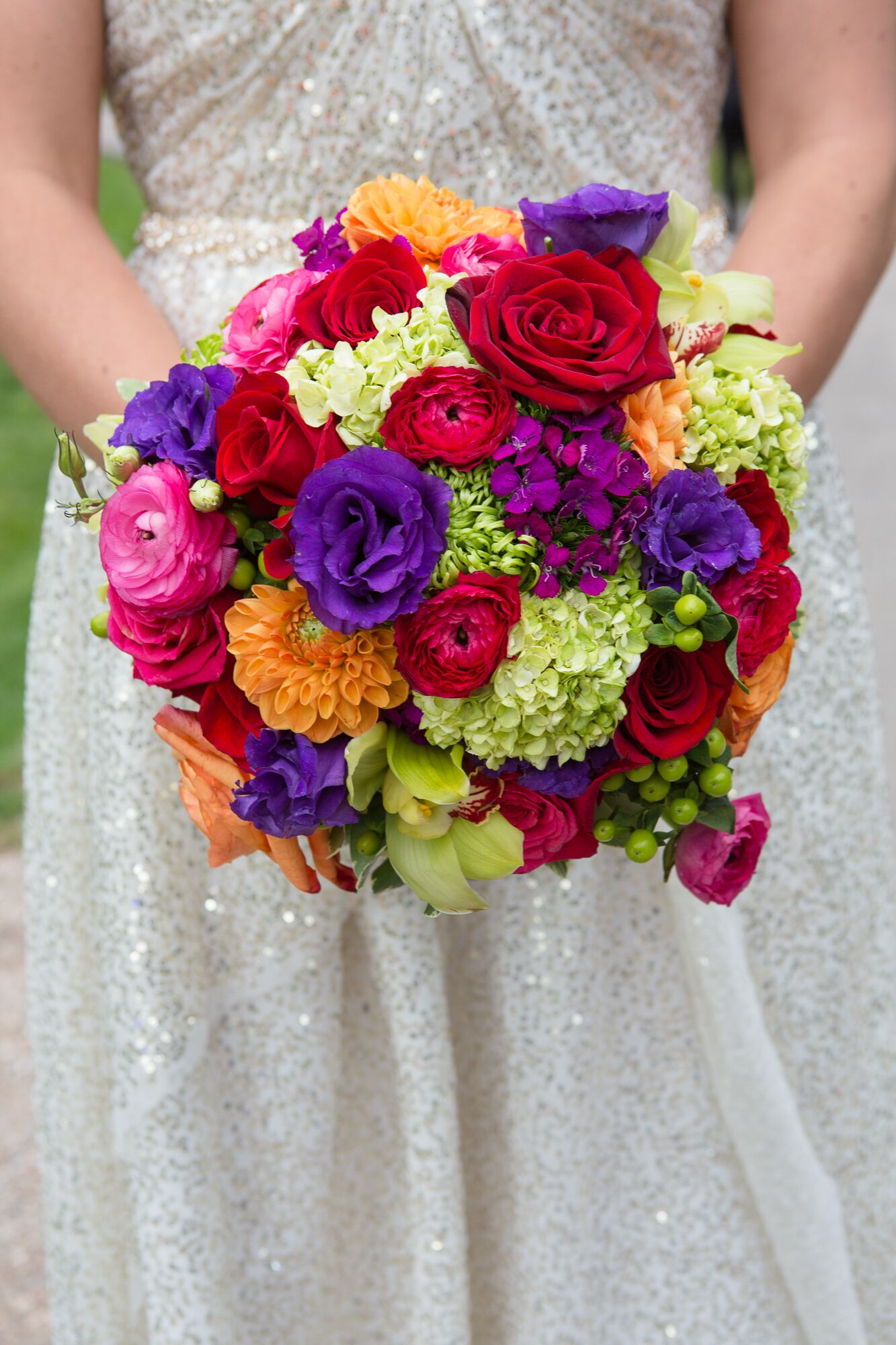Colorful Rose Hydrangea Dahlia Ranunculus Bouquet