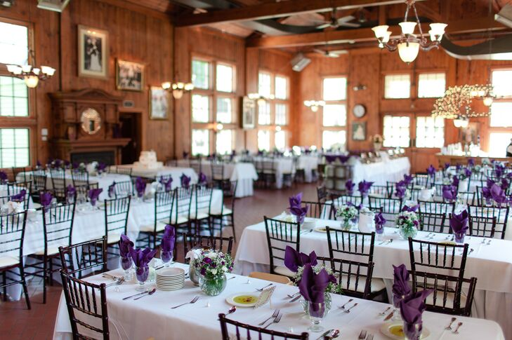Purple And White Dining Tables At Wellers Wedding Reception In