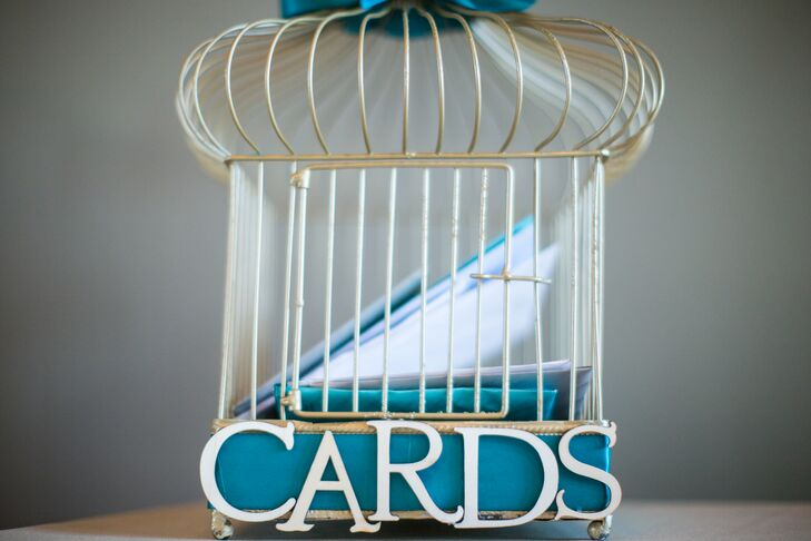 White and Teal Birdcage Card Holder