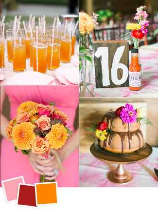 Peach, cherry red and orange wedding color ideas