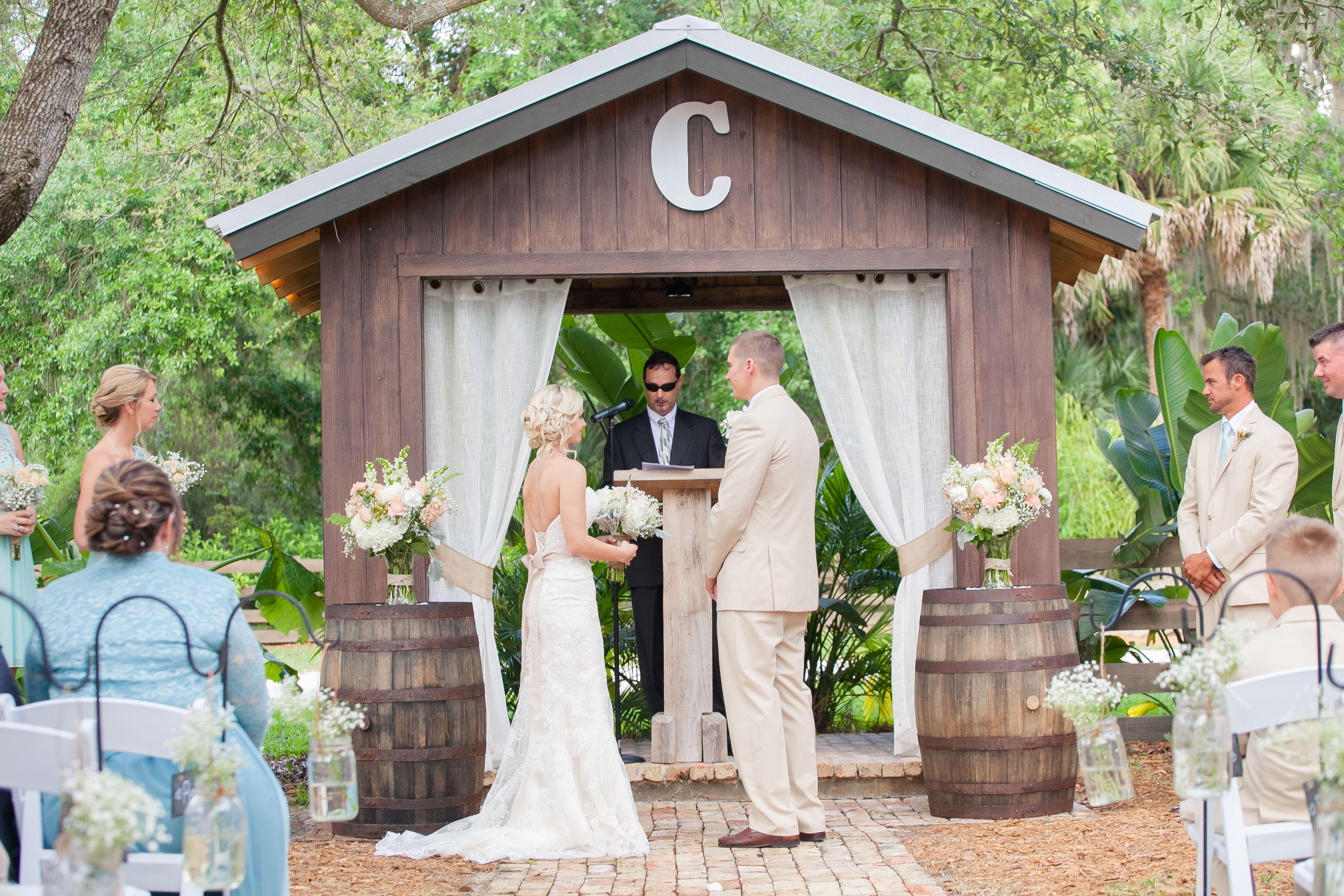 rustic barn inspired wedding arbor photo wedding arbor