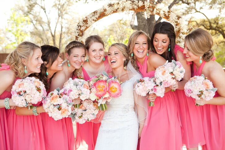 Coral Pink Bridesmaids Dresses with Bright Bouquets