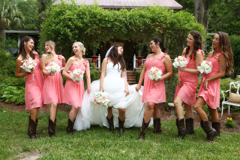 Short pink bridesmaid dresses with cowboy boots for Short wedding dress with cowboy boots