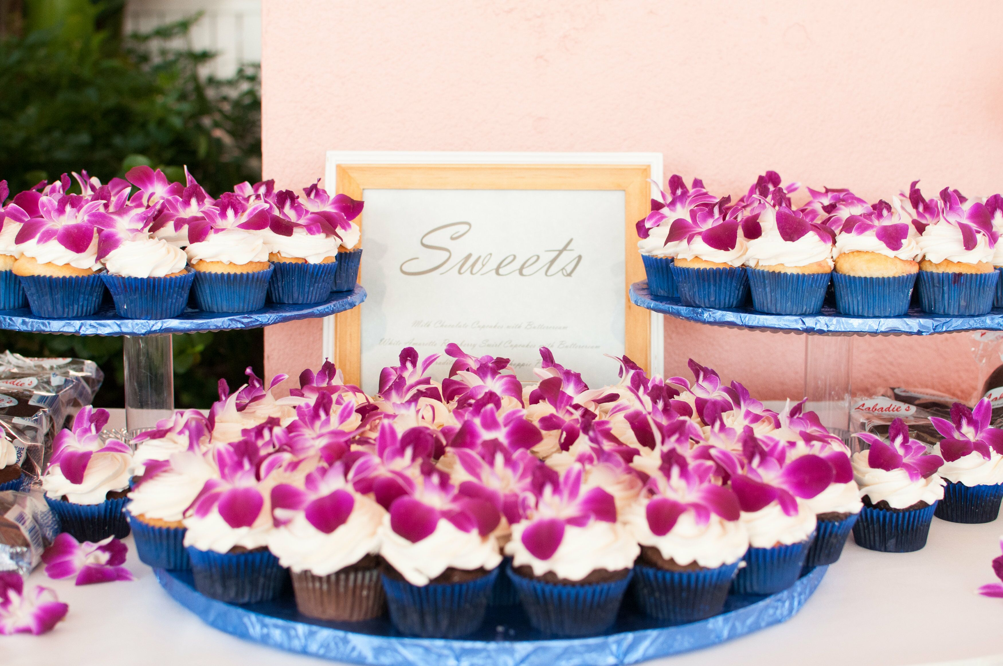 Purple Orchid Topped Wedding Cupcakes