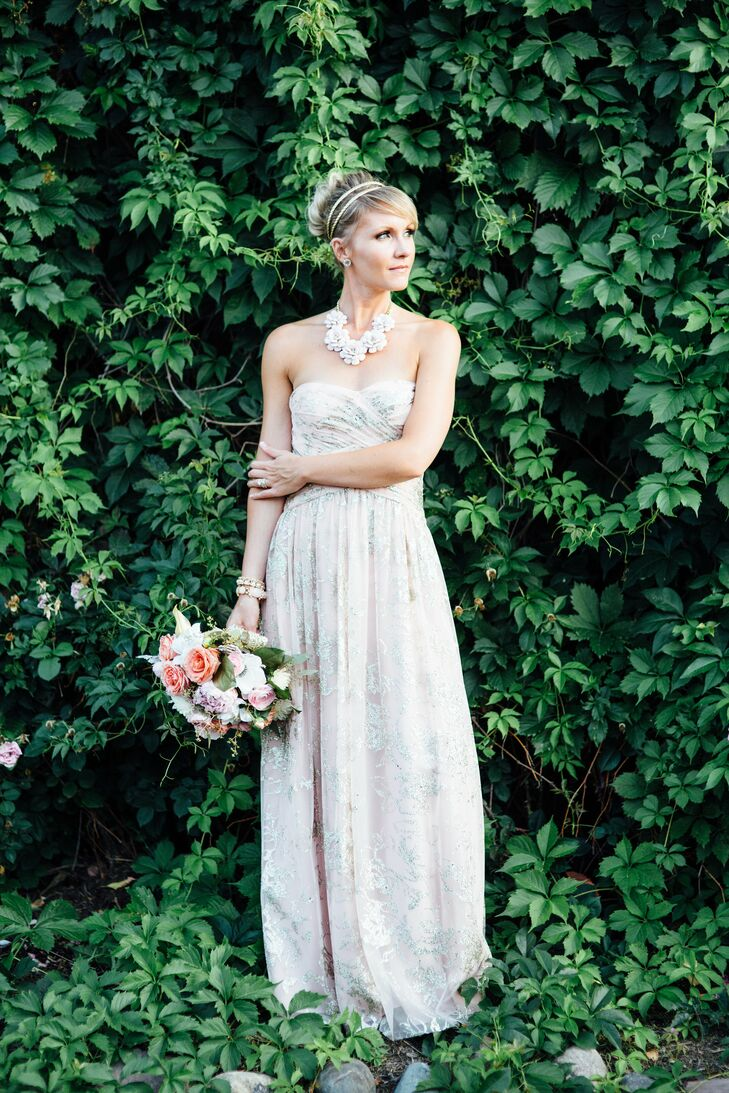 Blush Wedding Dress With Gold Accents