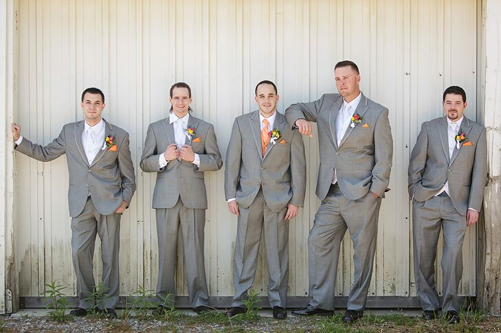 Groomsmen in Grey Suits and Orange Ties