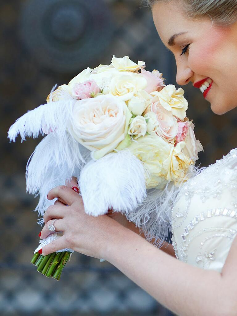 White wedding bouquet with ostrich feathers