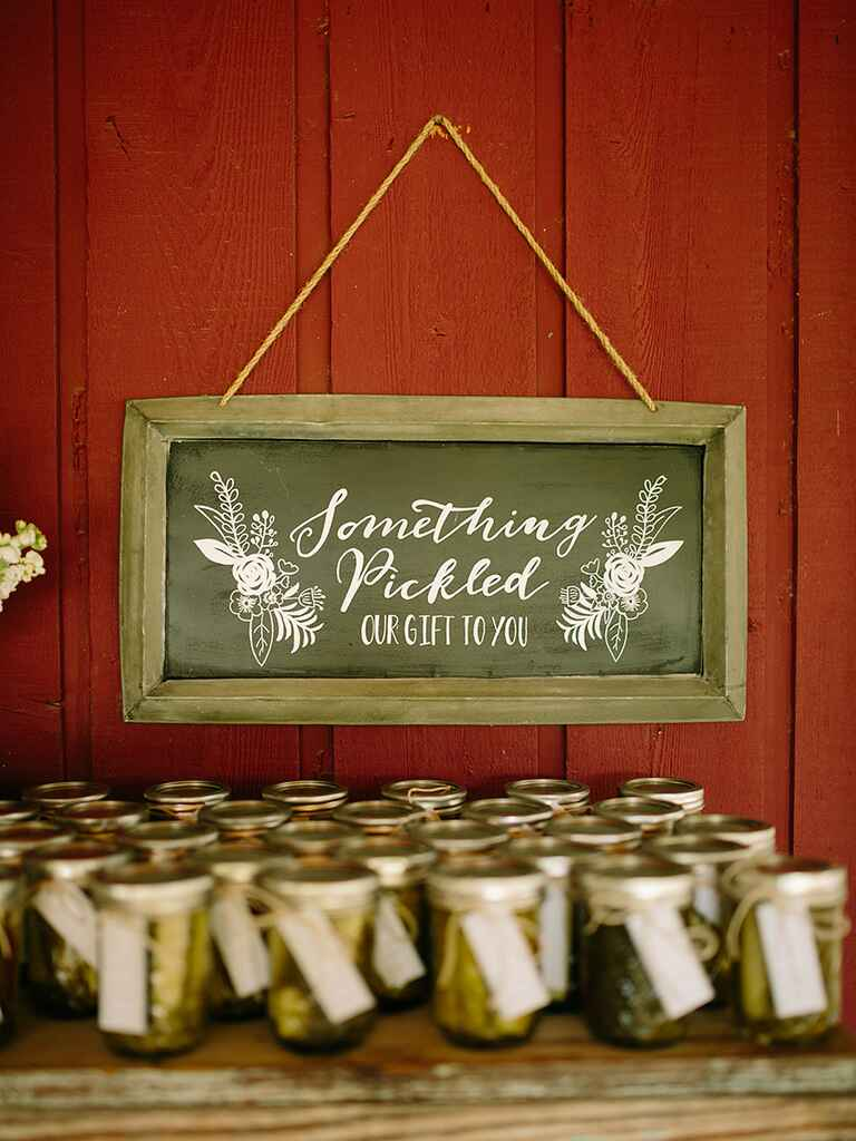 Rustic wedding favor idea with pickled veggies