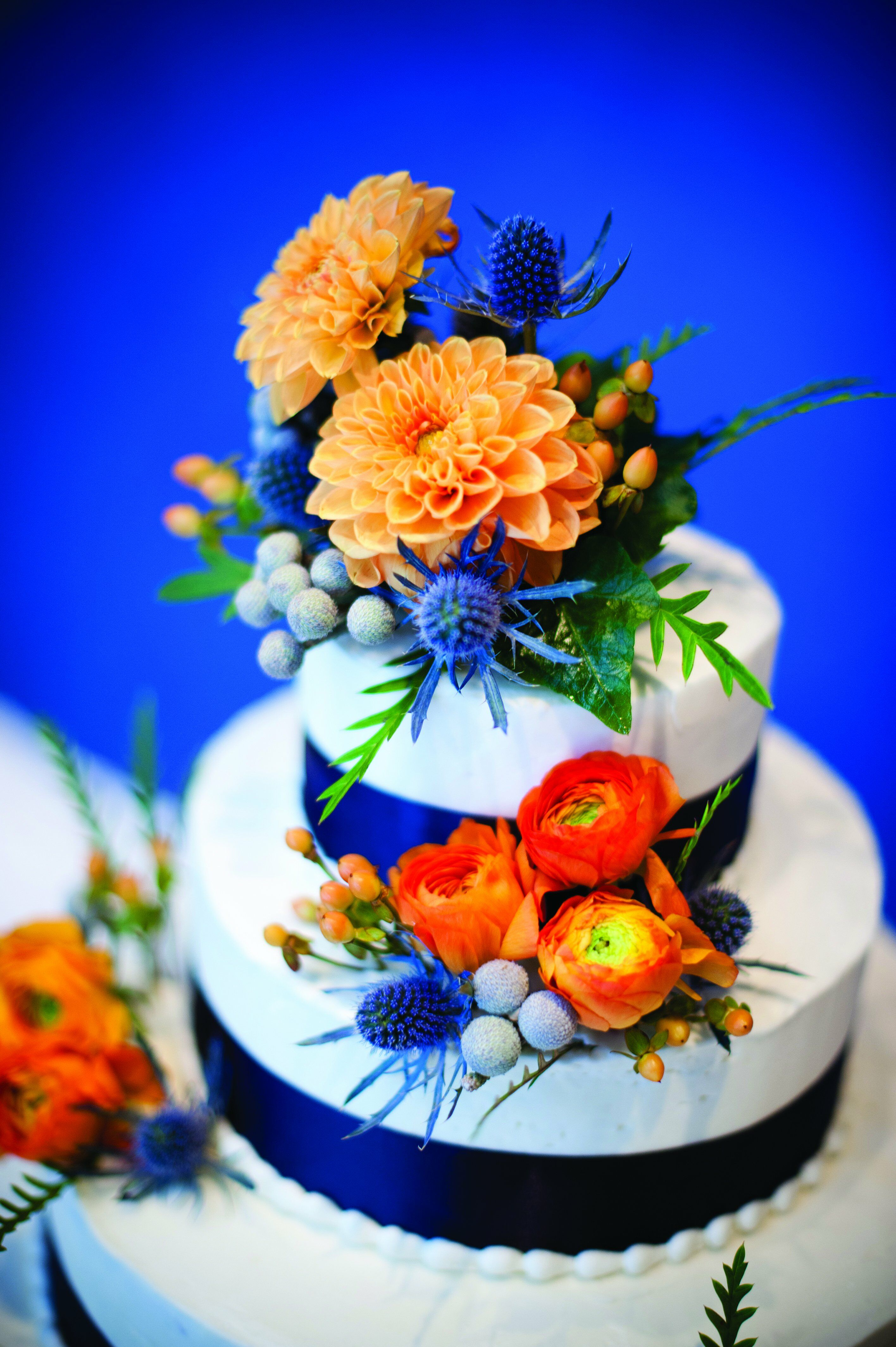 Navy And Orange Wedding Cake