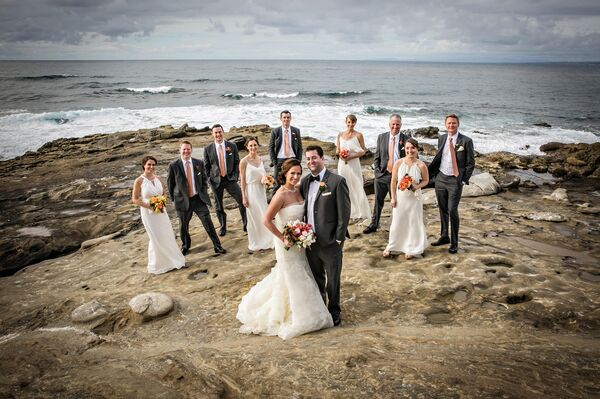 Ivory and Gray Wedding Party at Beach
