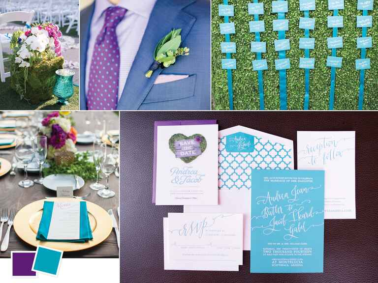 Vineyard wedding color inspiration with turquoise and purple