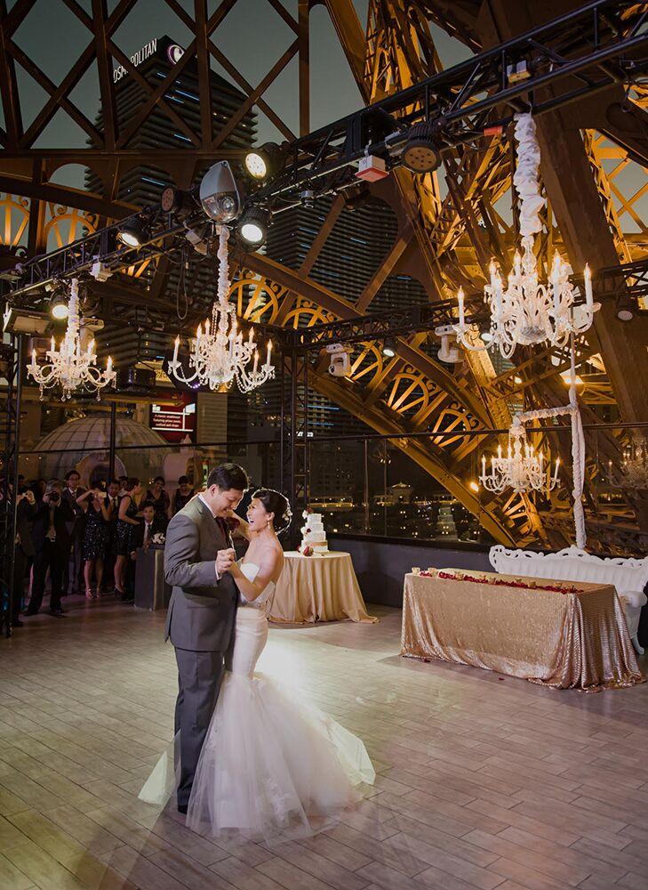 Bride And Groom Dance Below The Eiffel Tower At Paris Las Vegas