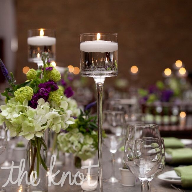 Candle and floral centerpieces - Bougeoir centre de table mariage ...