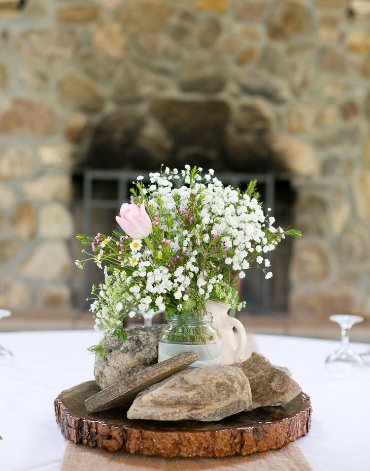 Rustic Baby S Breath Centerpiece With Rocks