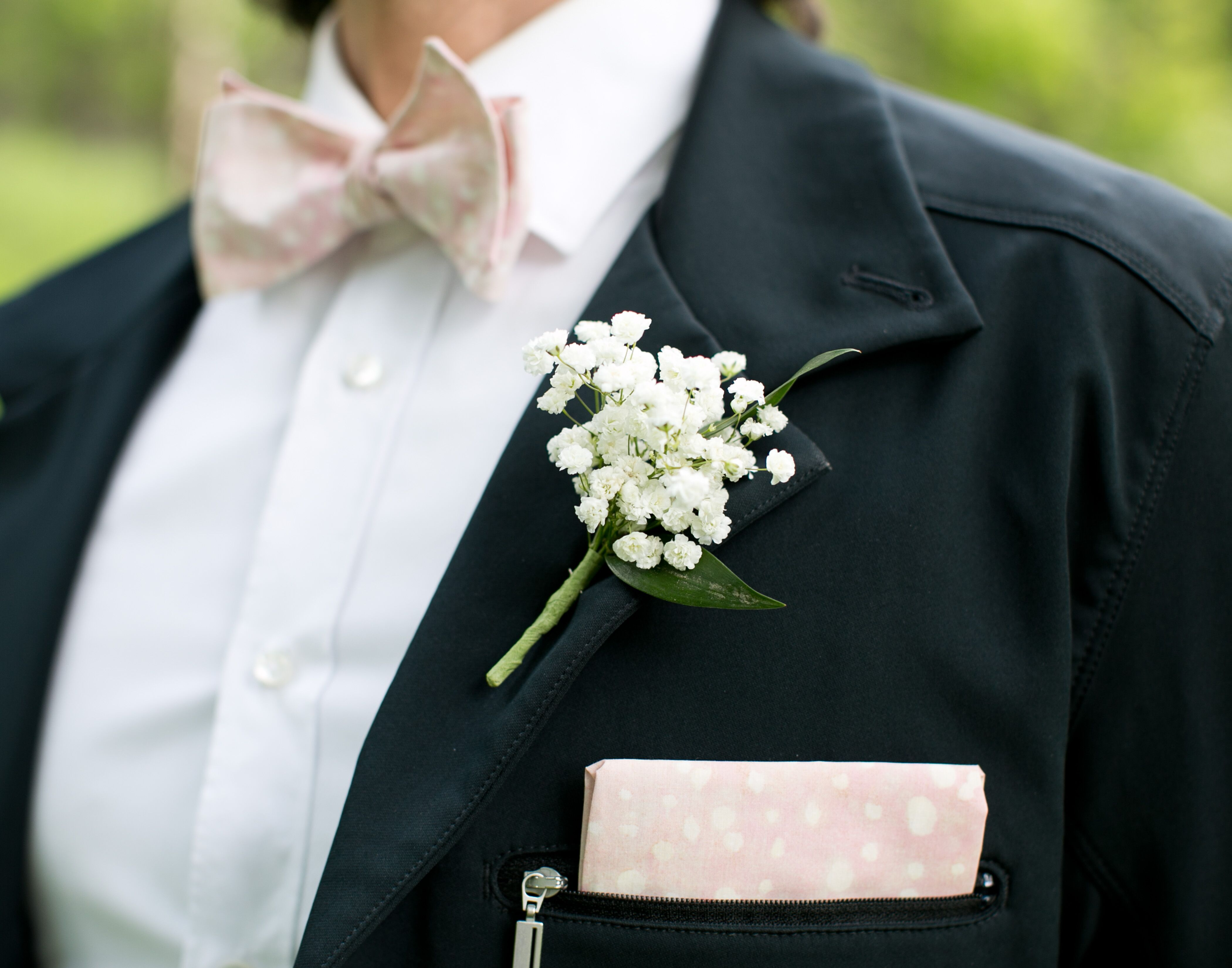 Baby S Breath Boutonniere With Blush Bow Tie