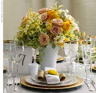 yellow and green wedding centerpiece