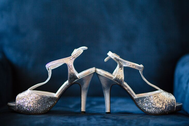 Silver Sparkly Ankle Strap Shoes