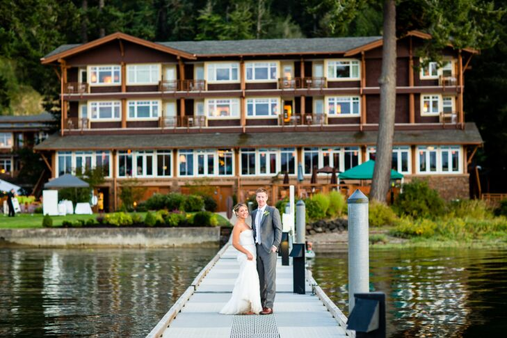 Michelle and Jeff stood in front of the gorgeous wooden Alderbrook Resort and Spa in Union, Washington, serving as a backdrop throughout the whole outdoor occasion. Michelle and Jeff stood in front on the dock, gleaming with joy to get married on Hood Canal—where Jeff had proposed to Michelle.