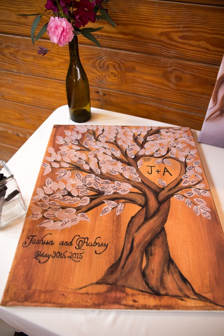 Tree Themed Wooden Board Guest Signing