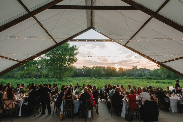 Tented Outdoor Reception with String Lights