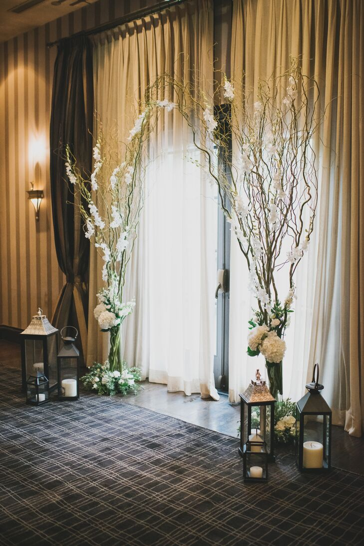 willow branch orchid hydrangea and lantern altar decorations. Black Bedroom Furniture Sets. Home Design Ideas