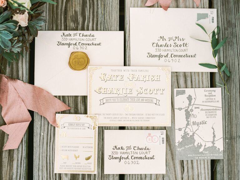 Cream and gold invitation suite with wax seal