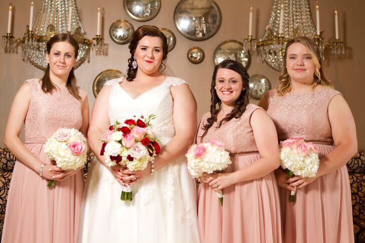 Dusty Rose Bridesmaids Dresses with Nude Heels