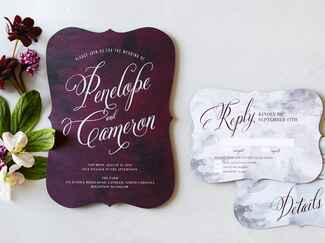 Wedding Paper Divas plum painterly wedding invitation