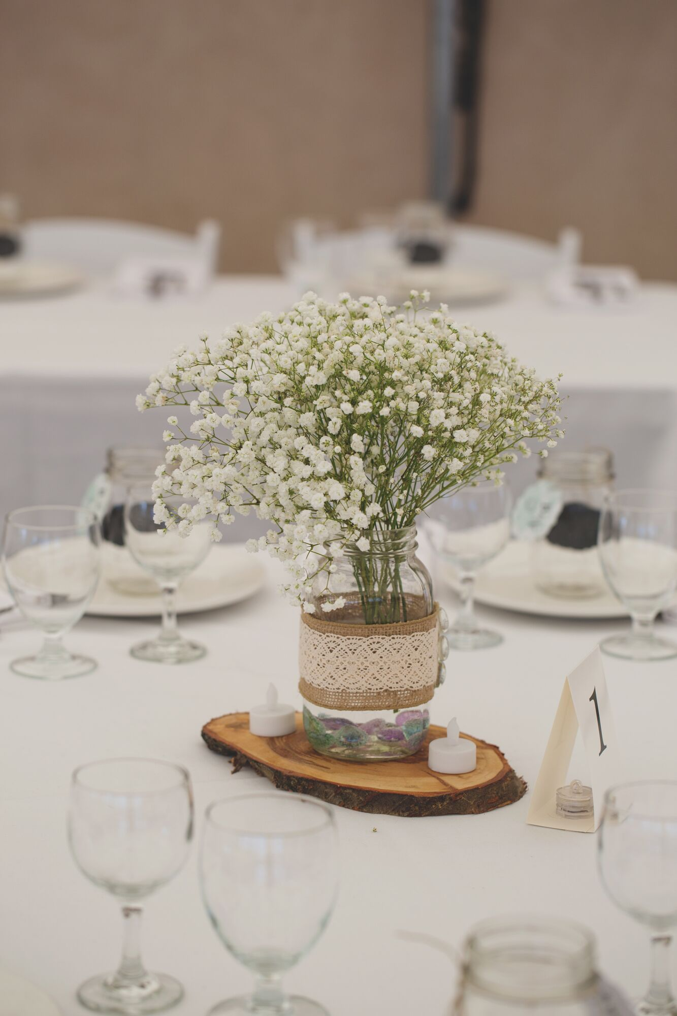 Babys Breath in Mason Jars With Burlap and Lace
