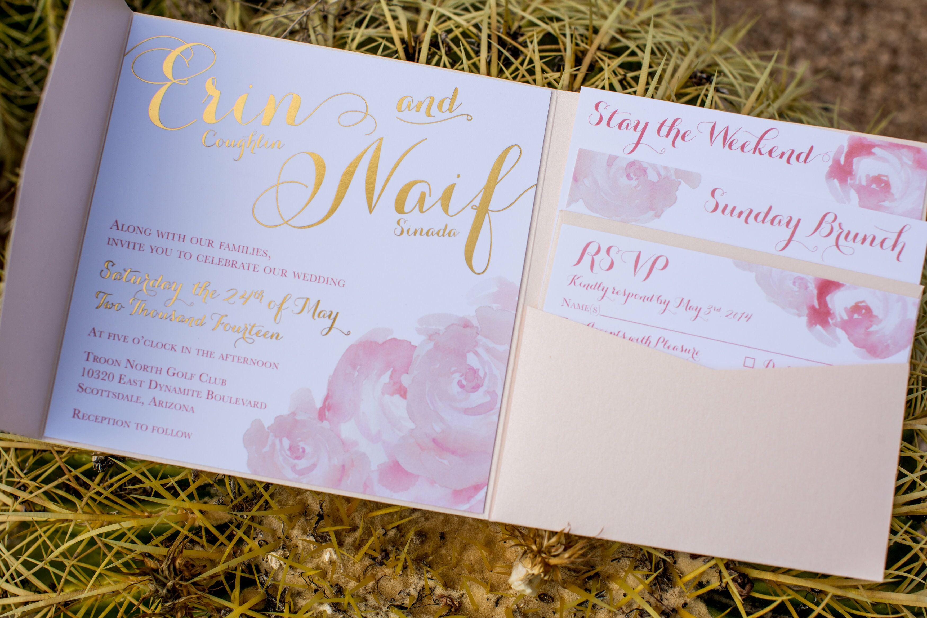 Wedding Invitations Az: Blush And Metallic Gold Invitation For Arizona Desert Wedding