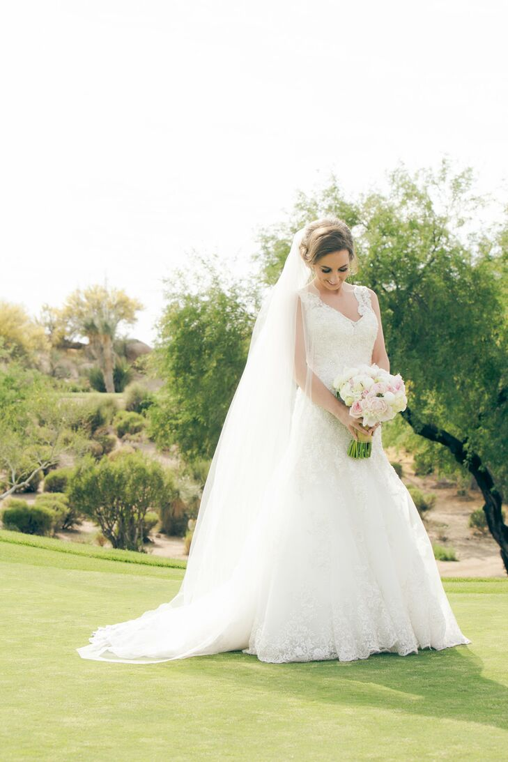 Embellished Fit And Flare Wedding Dress With Cathedral Veil In Scottsdale Arizona