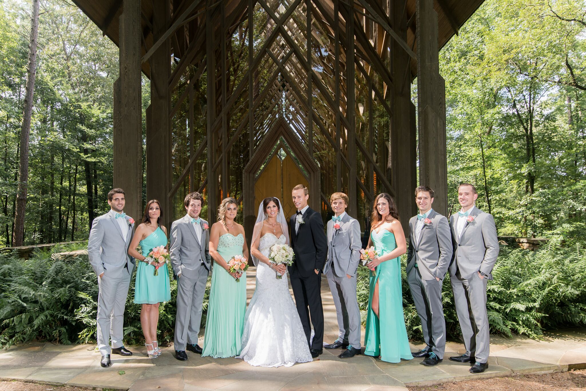 Mint Bridesmaid Dresses And Gray Groomsmen Suits