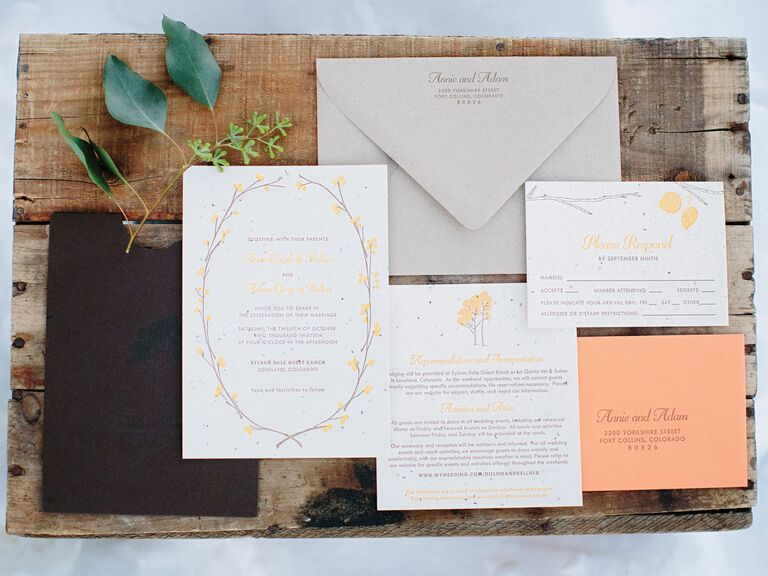 Peach and gray wedding invitation suite