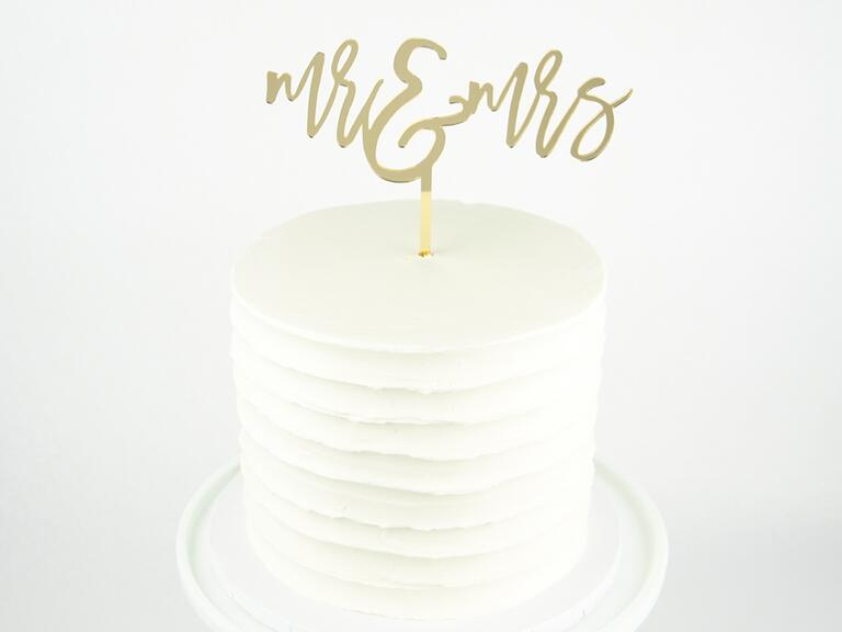 Gold mr and mrs cake topper