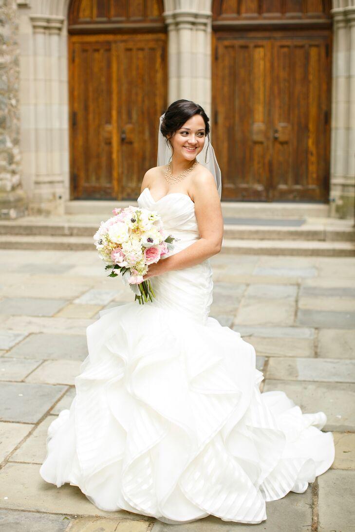 Bride in a Striped Organza Wedding Dress