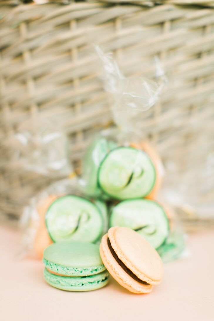 Mint and Peach Macaron Favors