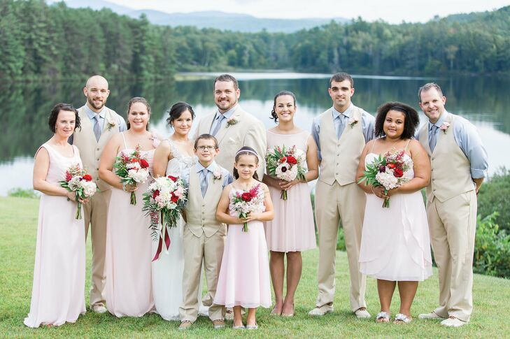 Mismatched Neutral Wedding Party Attire