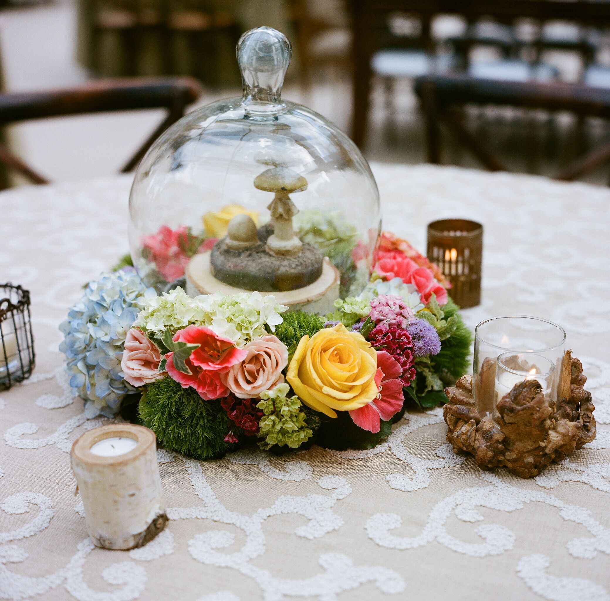 Mushroom Terrarium And Wooden Candle Wedding Centerpieces