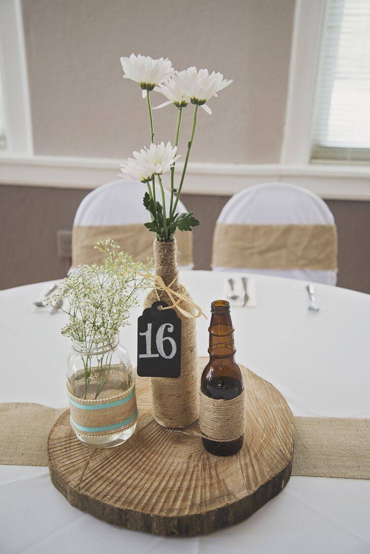 Rustic Diy Tree Stump Centerpieces With Twine Wrapped Beer