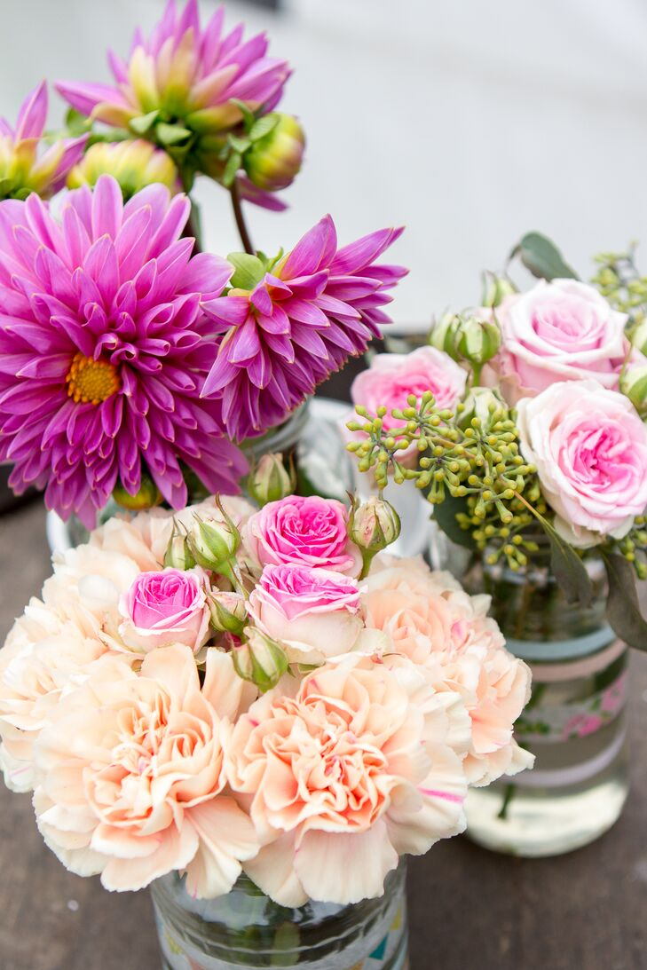 Pink And Peach Flower Arrangements With Dahlias Carnations And Roses