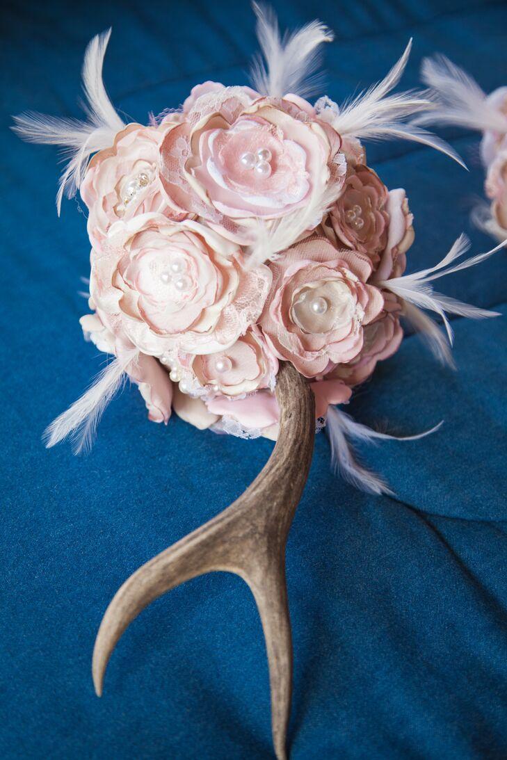 Diy Paper Flower And Antler Bridal Bouquet