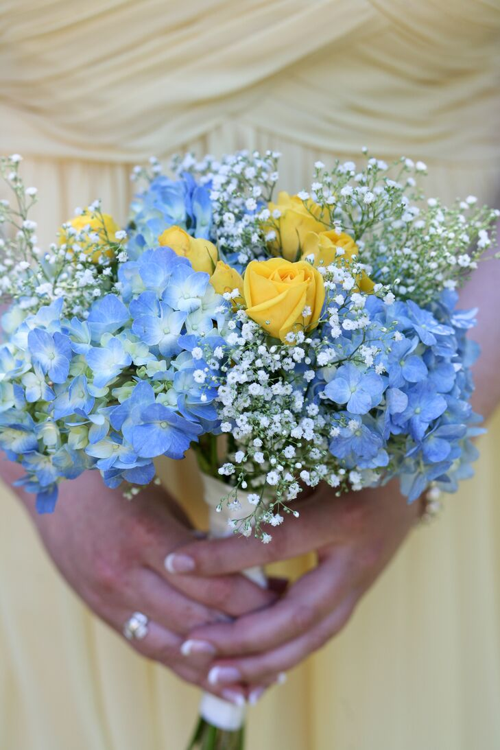 Blue And Yellow Hydrangea Rose And Babys Breath Bouquet