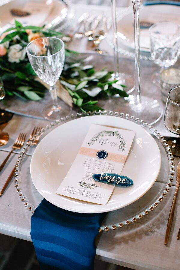 Hand-Lettered Stone Place Cards